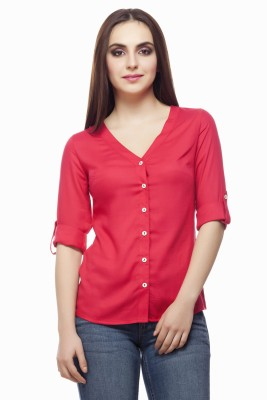 Miss Queen Casual Roll-up Sleeve Solid Women's Pink Top