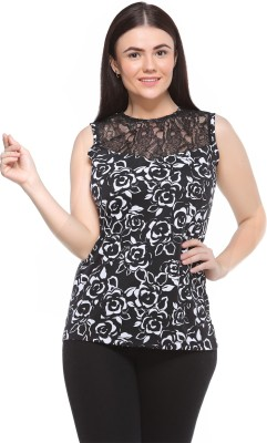 MOD PLUSS Casual Sleeveless Printed Women's Black Top