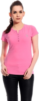 Rose Taylor Casual Short Sleeve Solid Women's Pink Top