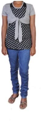 Jhumri Casual Short Sleeve Floral Print Girl's Black Top
