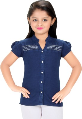 Triki Party Short Sleeve Self Design Girl's Blue Top