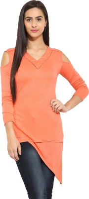 Why Knot Casual Full Sleeve Solid Women's Orange Top