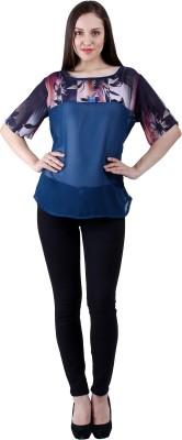 Selfiwear Casual Short Sleeve Printed Women's Blue Top