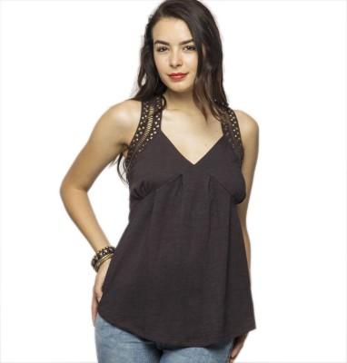 American Swan Casual Sleeveless Solid Women's Brown Top