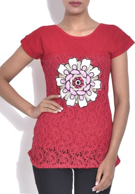 London Off Casual Short Sleeve Applique Women's Red Top