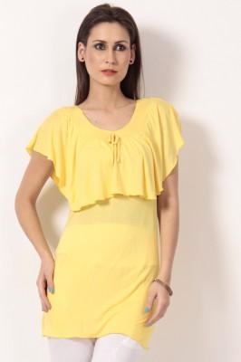 TeeMoods Casual Short Sleeve Solid Women's Yellow Top at flipkart