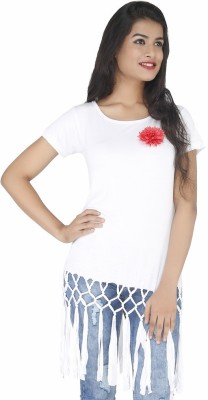 Pick Pocket Casual Short Sleeve Solid Women's White Top