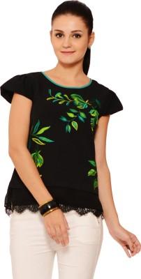 RSVP Cross Casual Butterfly Sleeve Printed Women's Black Top