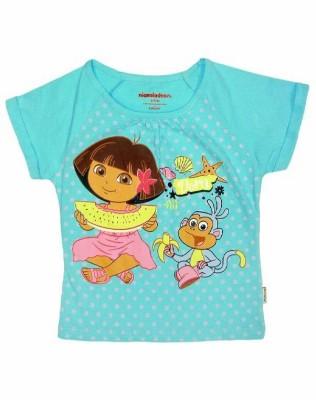 Dora Casual Short Sleeve Printed Girl's Blue Top