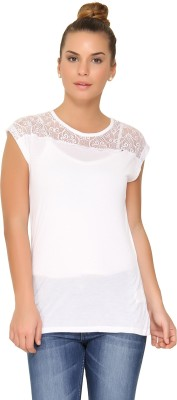 Amari West By INMARK Casual Cap sleeve Solid Women's White Top