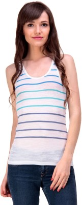 Ebry Casual Sleeveless Striped Women's White, Blue Top