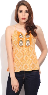 Imara Casual Sleeveless Printed Women's White, Orange Top