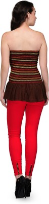 GUDS Casual Sleeveless Printed Women's Brown Top