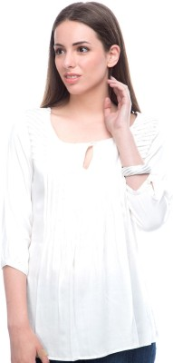 Virsa Casual 3/4 Sleeve Solid Women,s White Top