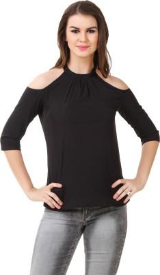 BrandMeUp Casual, Party, Formal, Beach Wear, Festive, Lounge Wear 3/4 Sleeve Solid Women's Black Top
