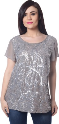 Trendy Divva Party Short Sleeve Embellished Women's Grey Top