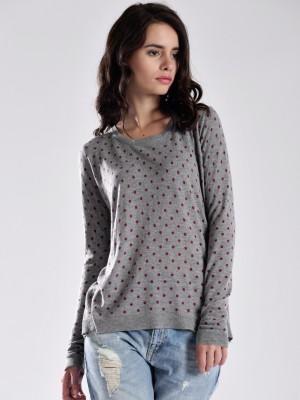 GAS Casual Full Sleeve Polka Print Women's Grey Top