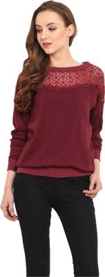Nordic Bazaar Casual Full Sleeve Solid Women's Maroon Top
