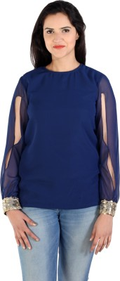 Lady Stark Party Full Sleeve Solid Women's Blue Top