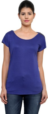 StyleToss Casual Short Sleeve Printed Women's Blue Top
