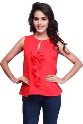 SFDS Casual, Formal, Party Sleeveless Self Design Women's Red Top
