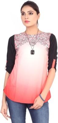 Pink Nine Casual 3/4 Sleeve Printed, Embellished Women's Pink, Black Top