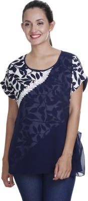 Meiro Formal Short Sleeve Printed Women's Blue Top at flipkart
