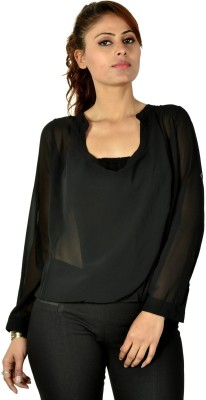 Designeez Casual Full Sleeve Solid Women's Black Top