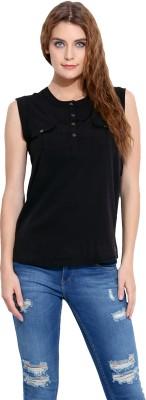 Porsorte Casual Sleeveless Solid Women's Black Top