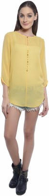 Florrie Fusion Casual 3/4 Sleeve Solid Women's Yellow Top