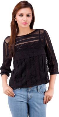 Centiaro Casual 3/4 Sleeve Solid Women's Black Top