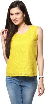 Abiti Bella Casual Sleeveless Embroidered Women's Yellow Top