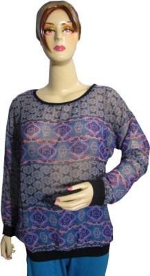 Fleeta Casual, Festive, Party Full Sleeve Printed Women's Multicolor Top