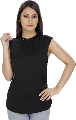 Franclo Party Sleeveless Solid Women's Black Top