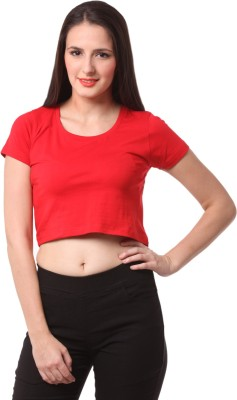 FashionExpo Casual Short Sleeve Solid Women's Red Top