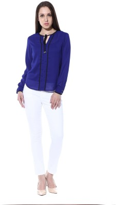 pinaki perryhills Casual Full Sleeve Solid Women's Blue Top