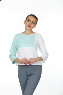 Baba Rancho Casual 3/4 Sleeve Solid Women's Green Top
