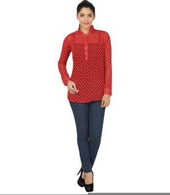 Kwardrobe Casual, Lounge Wear Full Sleeve Polka Print Women's Red Top