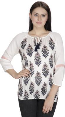 Ihastrenz Casual 3/4 Sleeve Printed Women's White Top