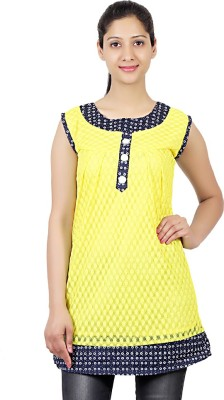 ASH Party Sleeveless Solid Women's Yellow Top