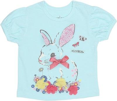 Babyoye Casual Short Sleeve Printed Baby Girl's Blue Top