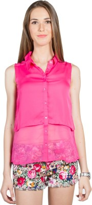 My Addiction Casual Sleeveless Solid Women's Pink Top