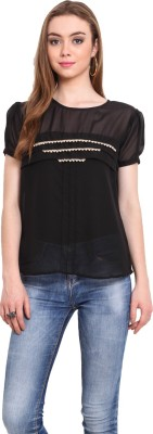 Desi Urban Casual Short Sleeve Solid Women's Black Top