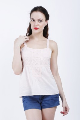 Hlsangam Party Sleeveless Solid Women's Pink Top