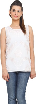 Global Colours Casual Sleeveless Embroidered Women's White Top