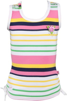 Pami Party Sleeveless Striped Baby Girl's Pink Top