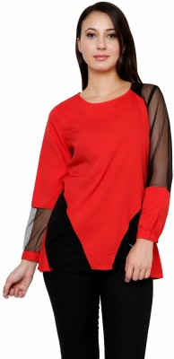 Rumara Casual Full Sleeve Solid Women's Red Top