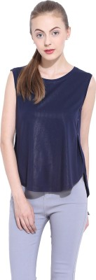Leo Sansini Casual Sleeveless Solid Women's Blue Top