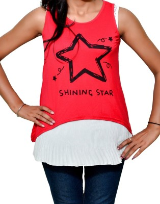 Mitra Creations Party Sleeveless Printed Women's Red, White Top
