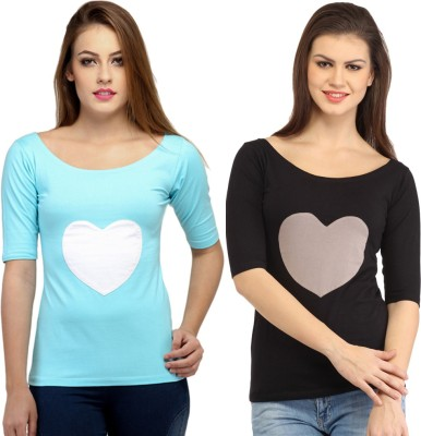 Cation Casual 3/4th Sleeve Solid Women's Black, Blue Top at flipkart